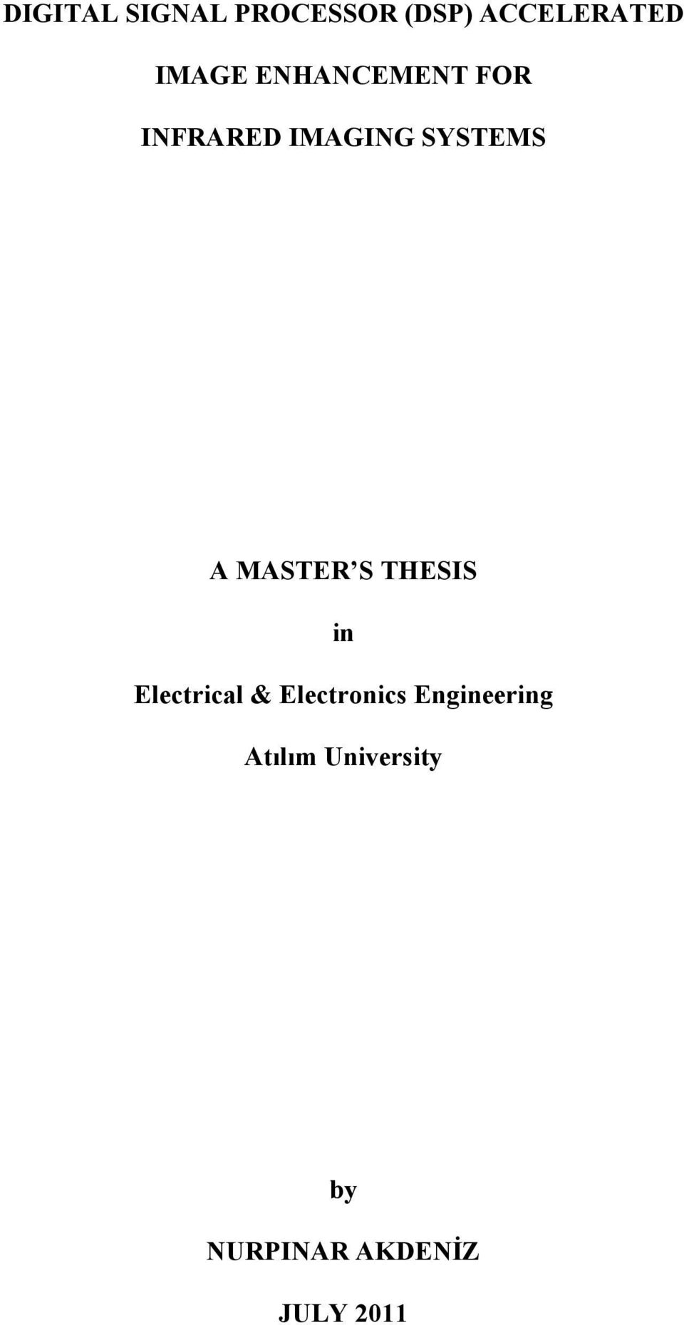 MASTER S THESIS in Electrical & Electronics