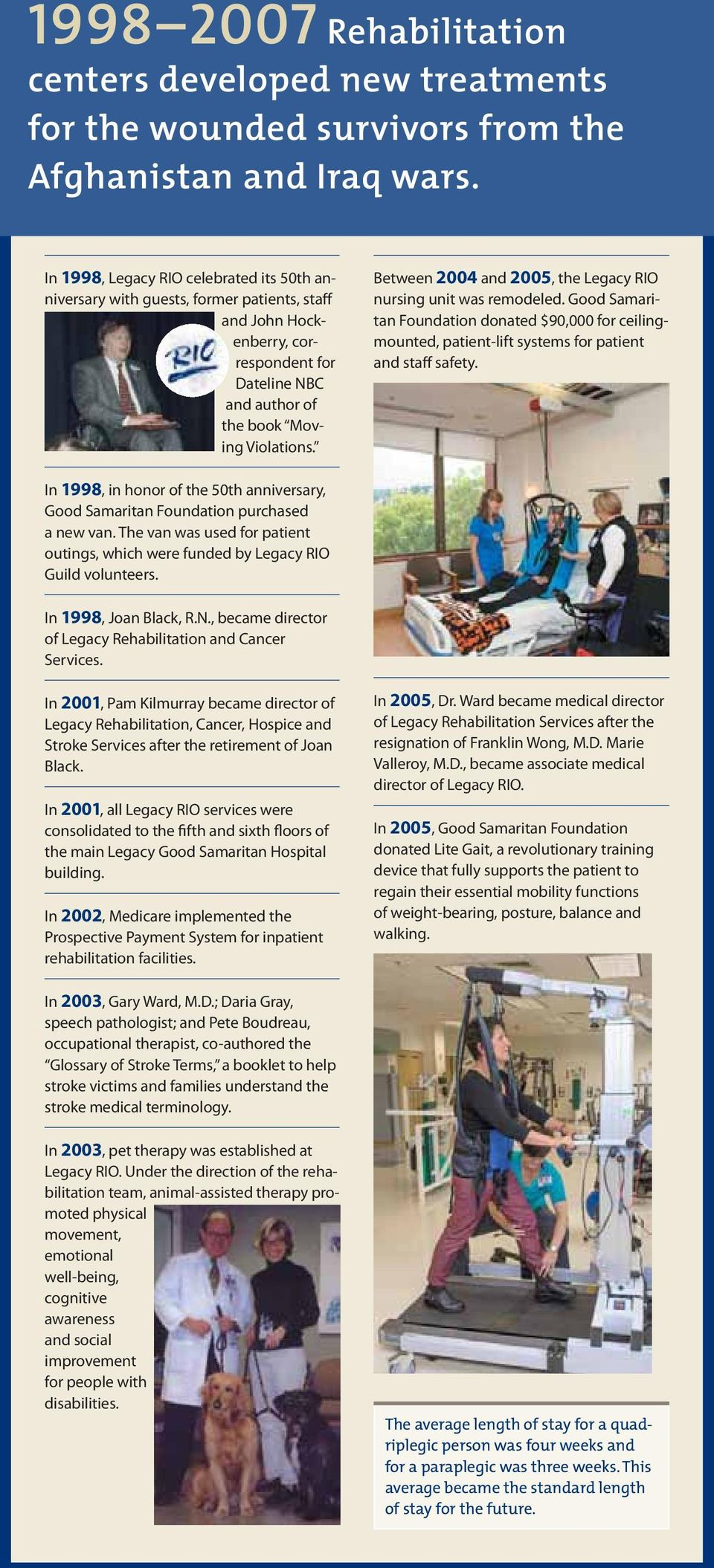 Between 2004 and 2005, the Legacy RIO nursing unit was remodeled. Good Samaritan Foundation donated $90,000 for ceilingmounted, patient-lift systems for patient and staff safety.