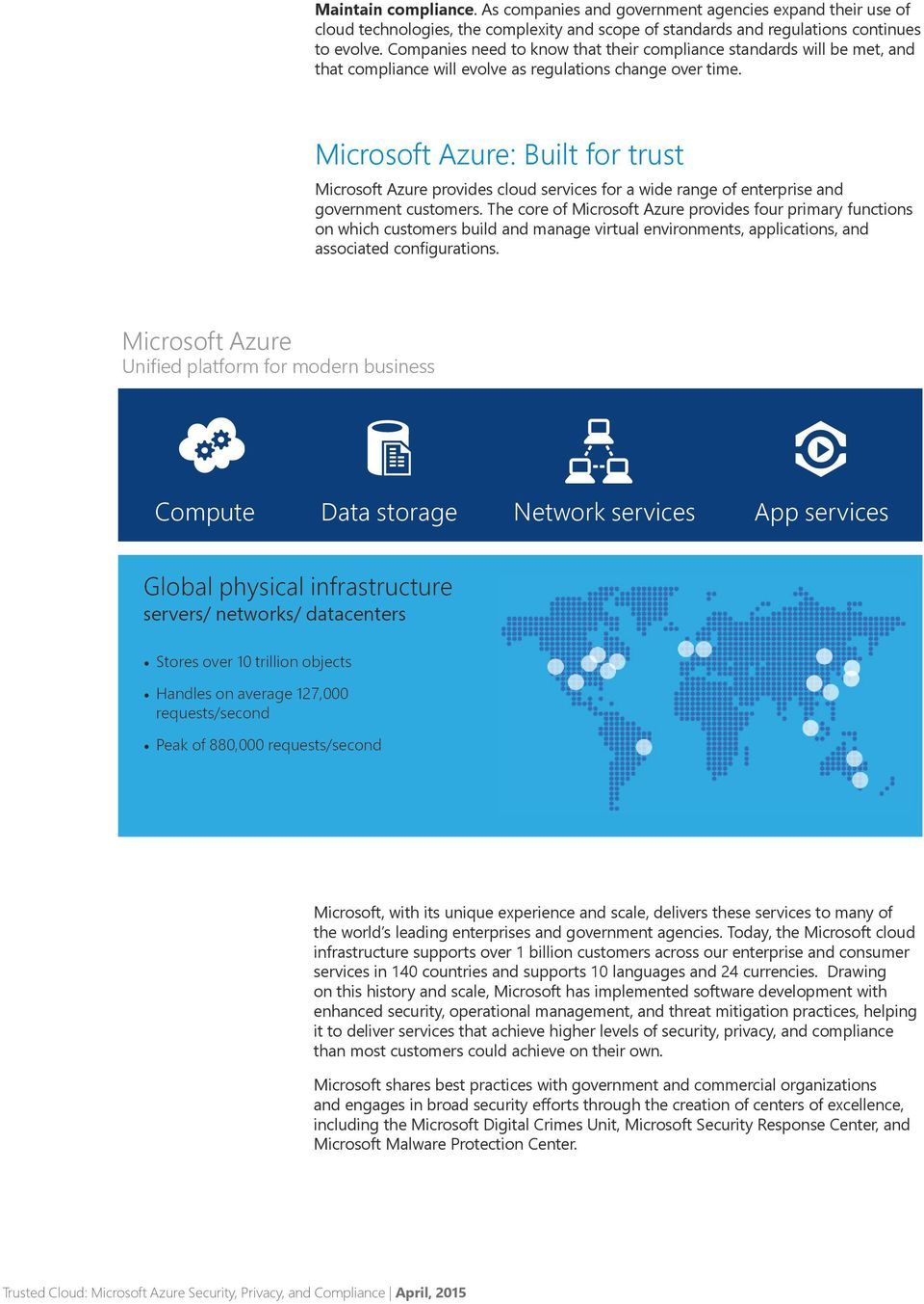 Microsoft Azure: Built for trust Microsoft Azure provides cloud services for a wide range of enterprise and government customers.