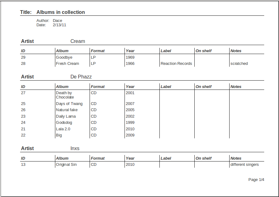 9 Module 5 Reports Reports are usually used to print out information with a particular design. Reports are created using query or table data. Image No. 5. A report page prepared for printing in landscape orientation The layout of reports can be modified; it is possible to add pictures and other design features.