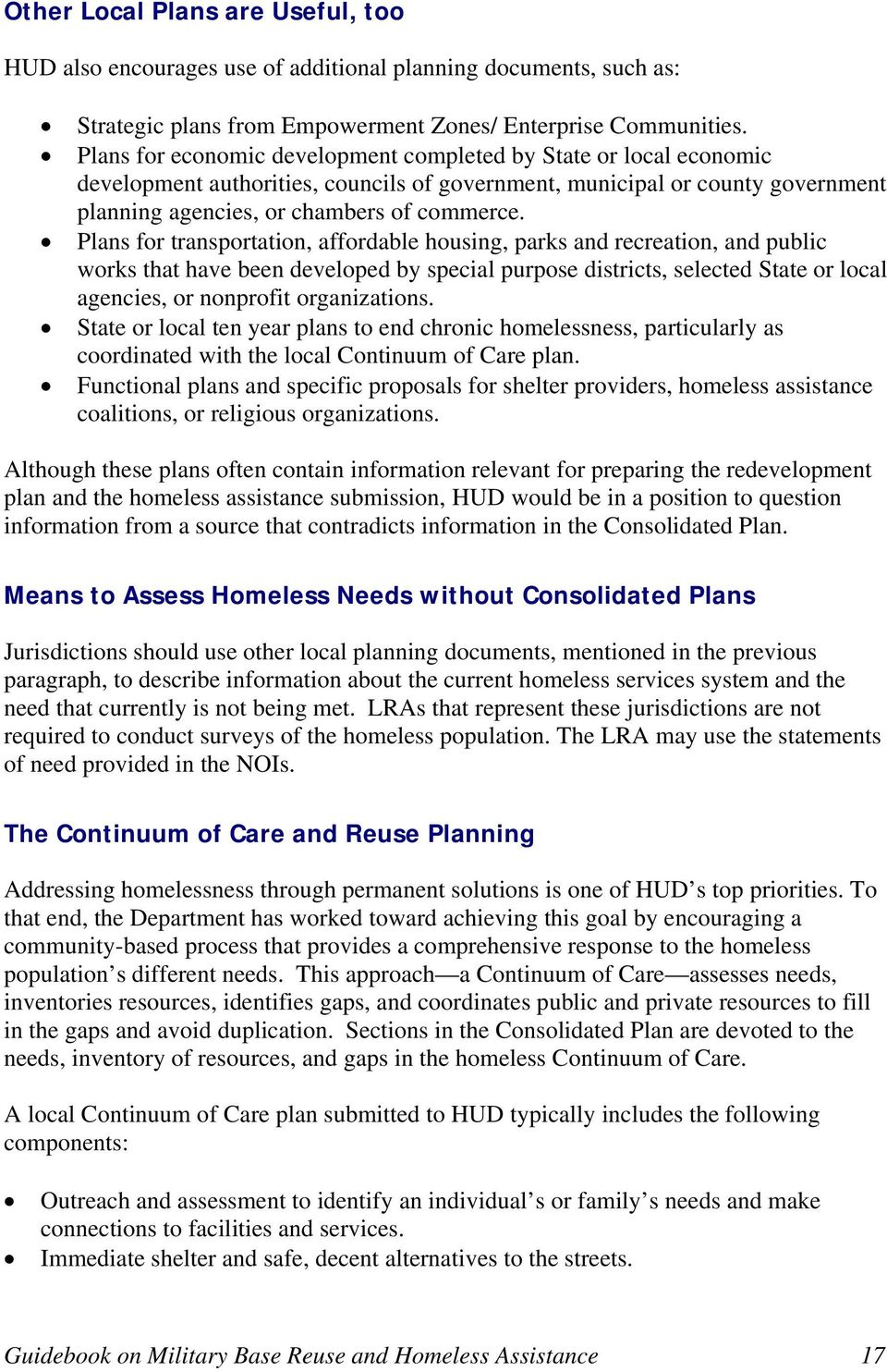 Plans for transportation, affordable housing, parks and recreation, and public works that have been developed by special purpose districts, selected State or local agencies, or nonprofit