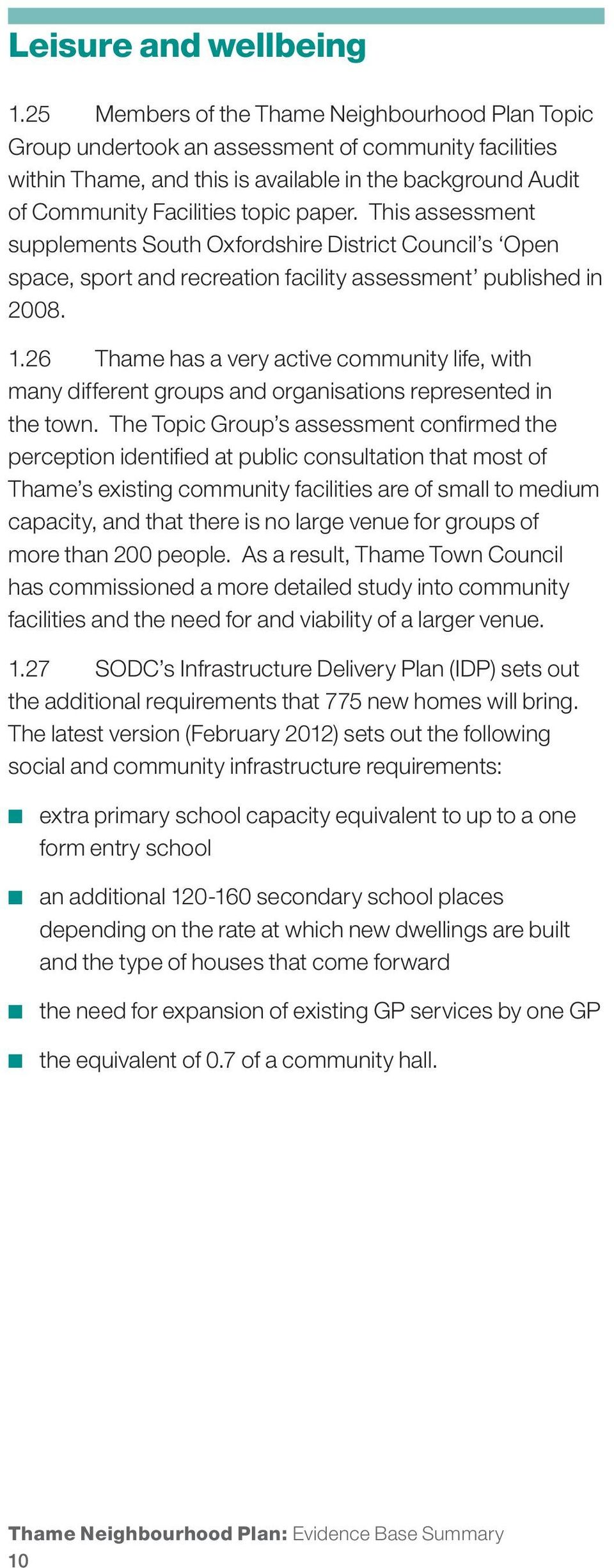 This assessment supplements South Oxfordshire District Council s Open space, sport and recreation facility assessment published in 2008. 1.