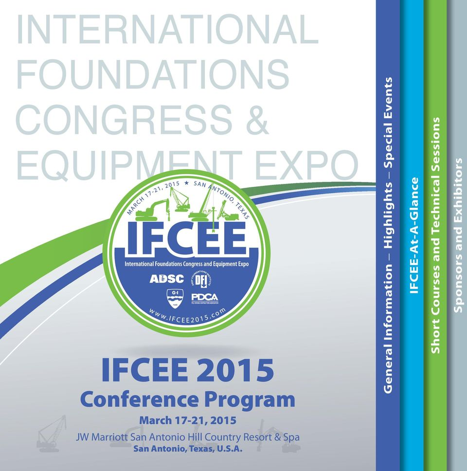 IFCEE-At-A-Glance Short Courses and Technical Sessions Sponsors and
