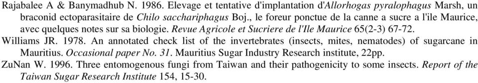 Williams JR. 1978. An annotated check list of the invertebrates (insects, mites, nematodes) of sugarcane in Mauritius. Occasional paper No. 31.
