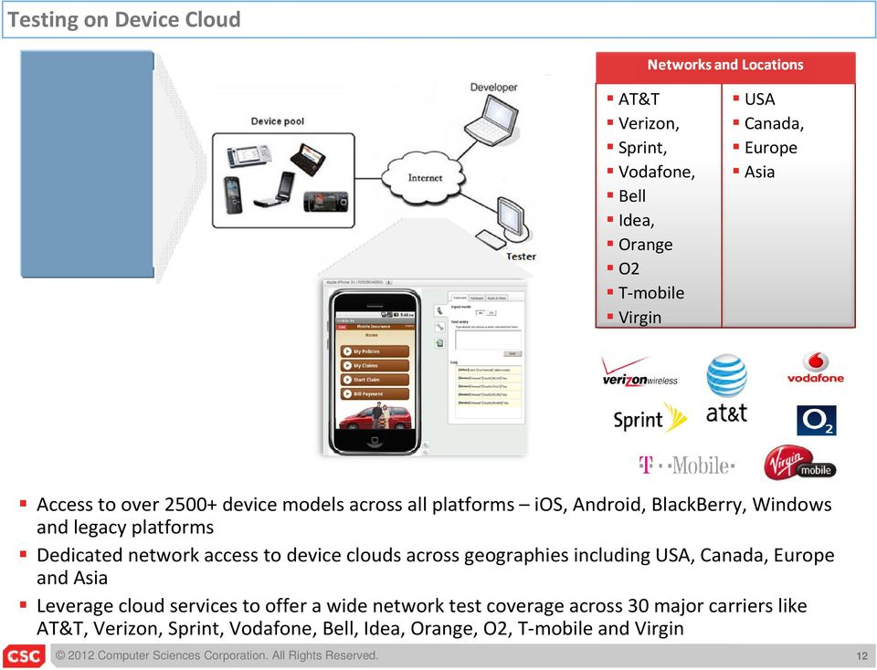 access to device clouds across geographies including USA, Canada, Europe and Asia Leverage cloud services to offer a wide