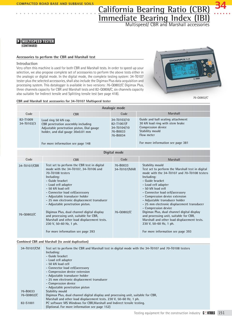 Digimax Plus system, which is fully described below. The digital version can be completed by the 82-S1001 software for use with PC.