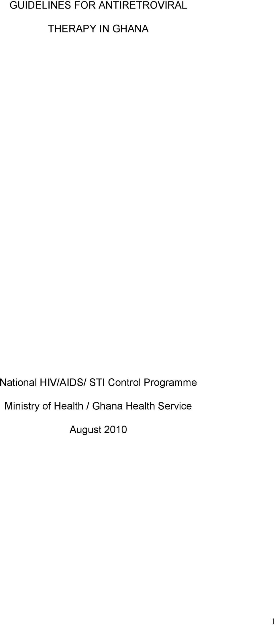 STI Control Programme Ministry of