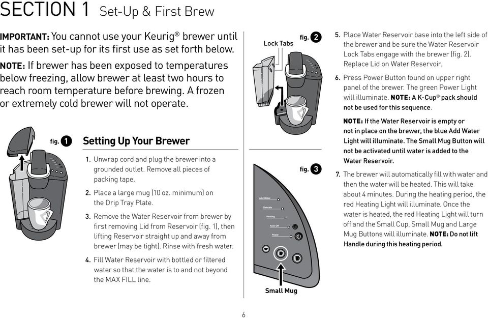 Lock Tabs fig. 2 5. Place Water Reservoir base into the left side of the brewer and be sure the Water Reservoir Lock Tabs engage with the brewer (fig. 2). Replace Lid on Water Reservoir. 6.