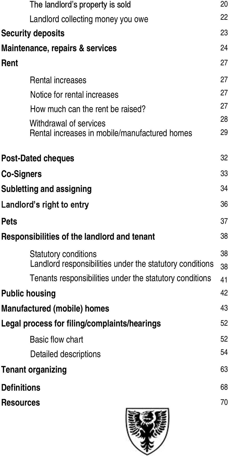 Withdrawal of services Rental increases in mobile/manufactured homes 27 27 27 28 29 Post-Dated cheques 32 Co-Signers 33 Subletting and assigning 34 Landlord s right to entry 36 Pets 37