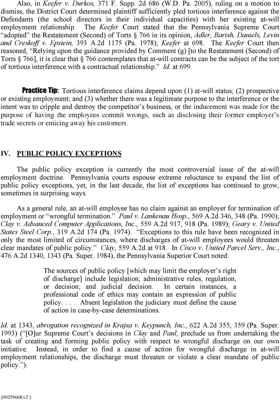 FIRE AT-WILL: EMPLOYEE TERMINATIONS IN PENNSYLVANIA - PDF
