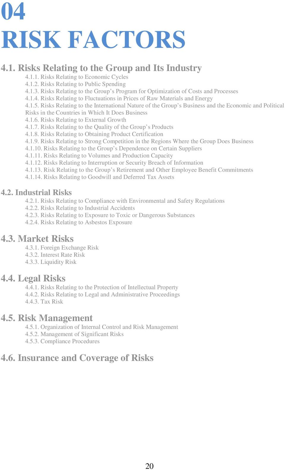 Risks Relating to the International Nature of the Group s Business and the Economic and Political Risks in the Countries in Which It Does Business 4.1.6. Risks Relating to External Growth 4.1.7.