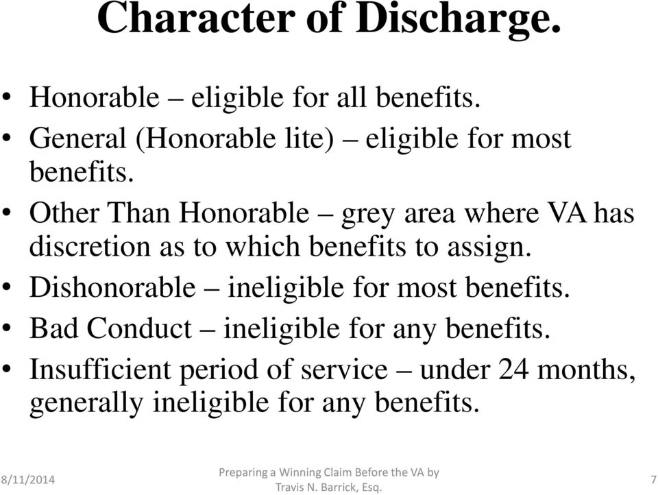 Other Than Honorable grey area where VA has discretion as to which benefits to assign.