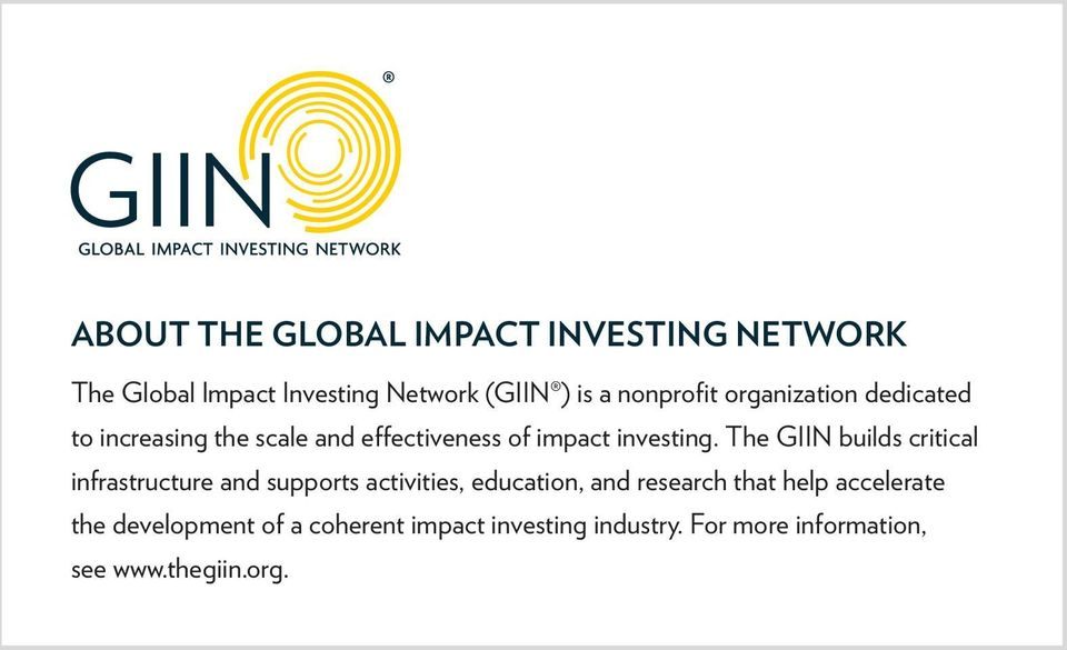 The GIIN builds critical infrastructure and supports activities, education, and research that help