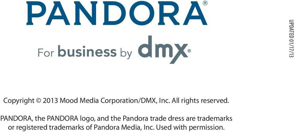 .. PANDORA, the PANDORA logo, and the Pandora trade dress are