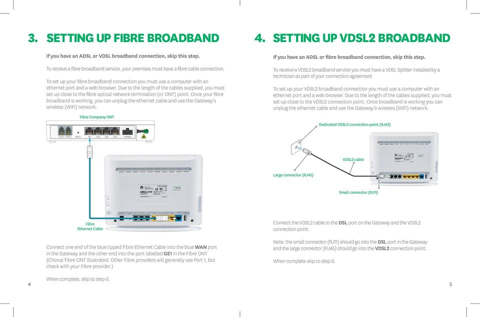To receive a VDSL2 broadband service you must have a VDSL Splitter installed by a technician as part of your connection agreement To set up your fibre broadband connection you must use a computer