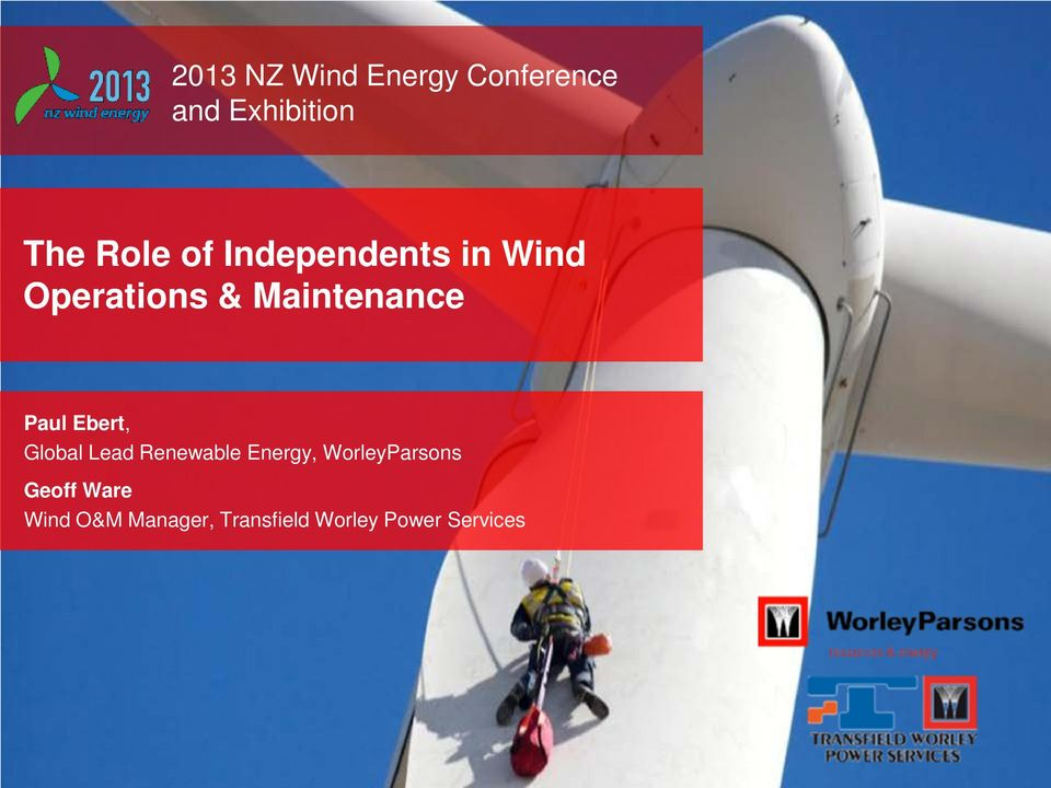 Ebert, Global Lead Renewable Energy, WorleyParsons