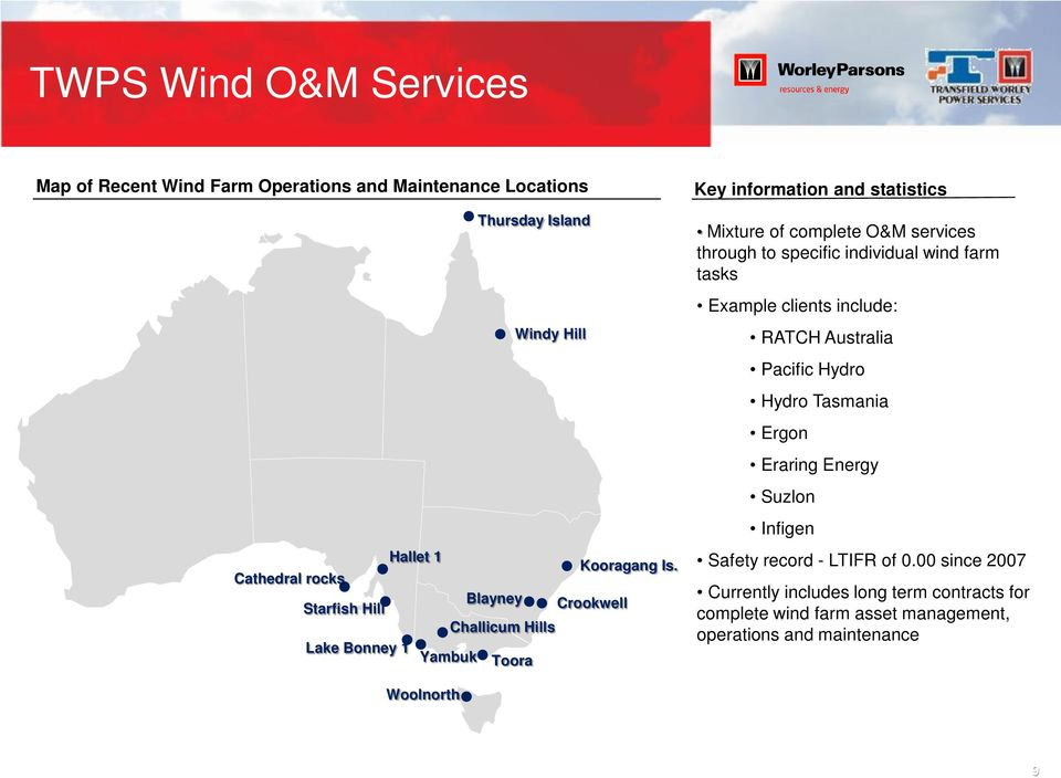 specific individual wind farm tasks Example clients include: RATCH Australia Pacific Hydro Hydro Tasmania Ergon Eraring Energy Suzlon Infigen Safety