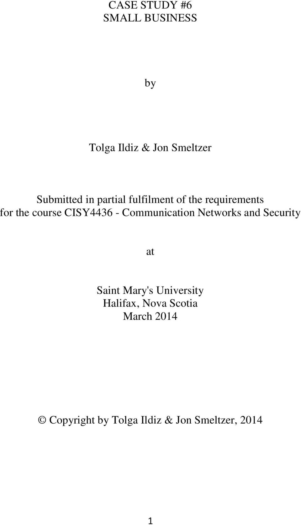Communication Networks and Security at Saint Mary's University
