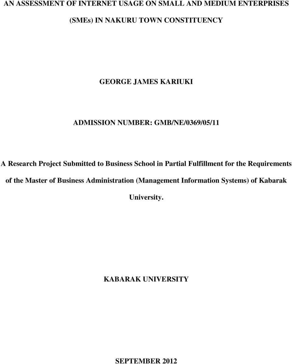 Submitted to Business School in Partial Fulfillment for the Requirements of the Master of