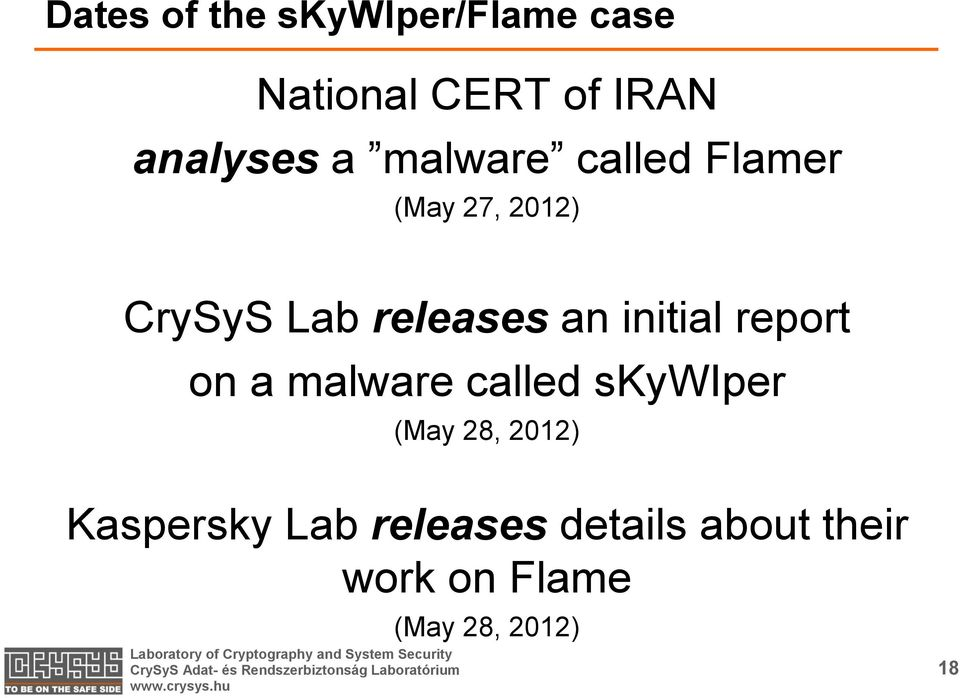 initial report on a malware called skywiper (May 28, 2012)
