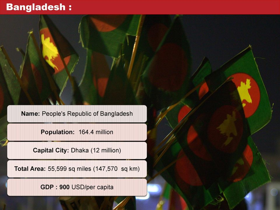 4 million Capital City: Dhaka (12 million)