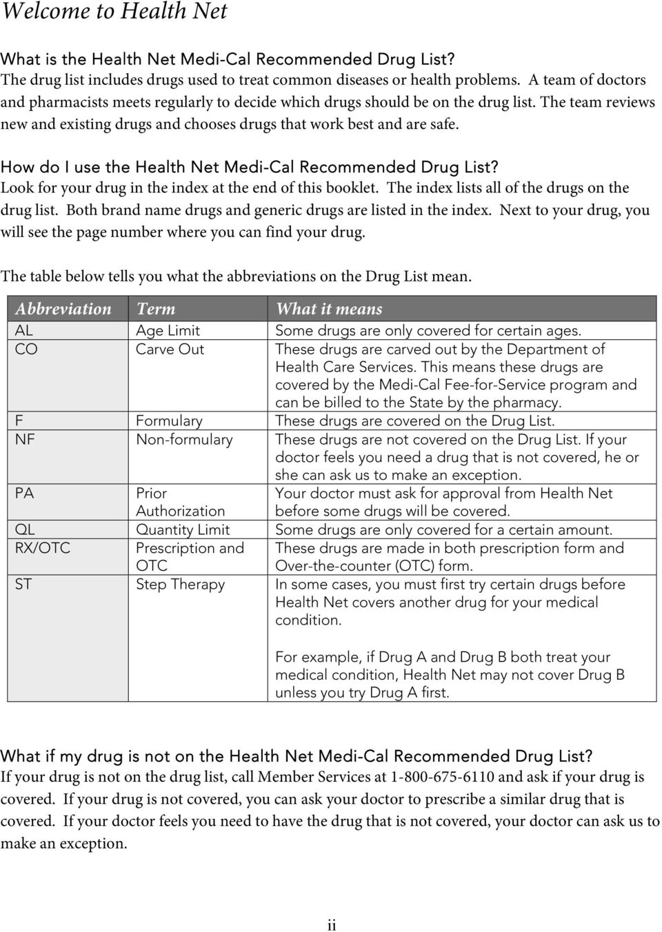 How do I use the Health Net Medi-Cal Recommended List? Look for your drug in the index at the end of this booklet. The index lists all of the drugs on the drug list.