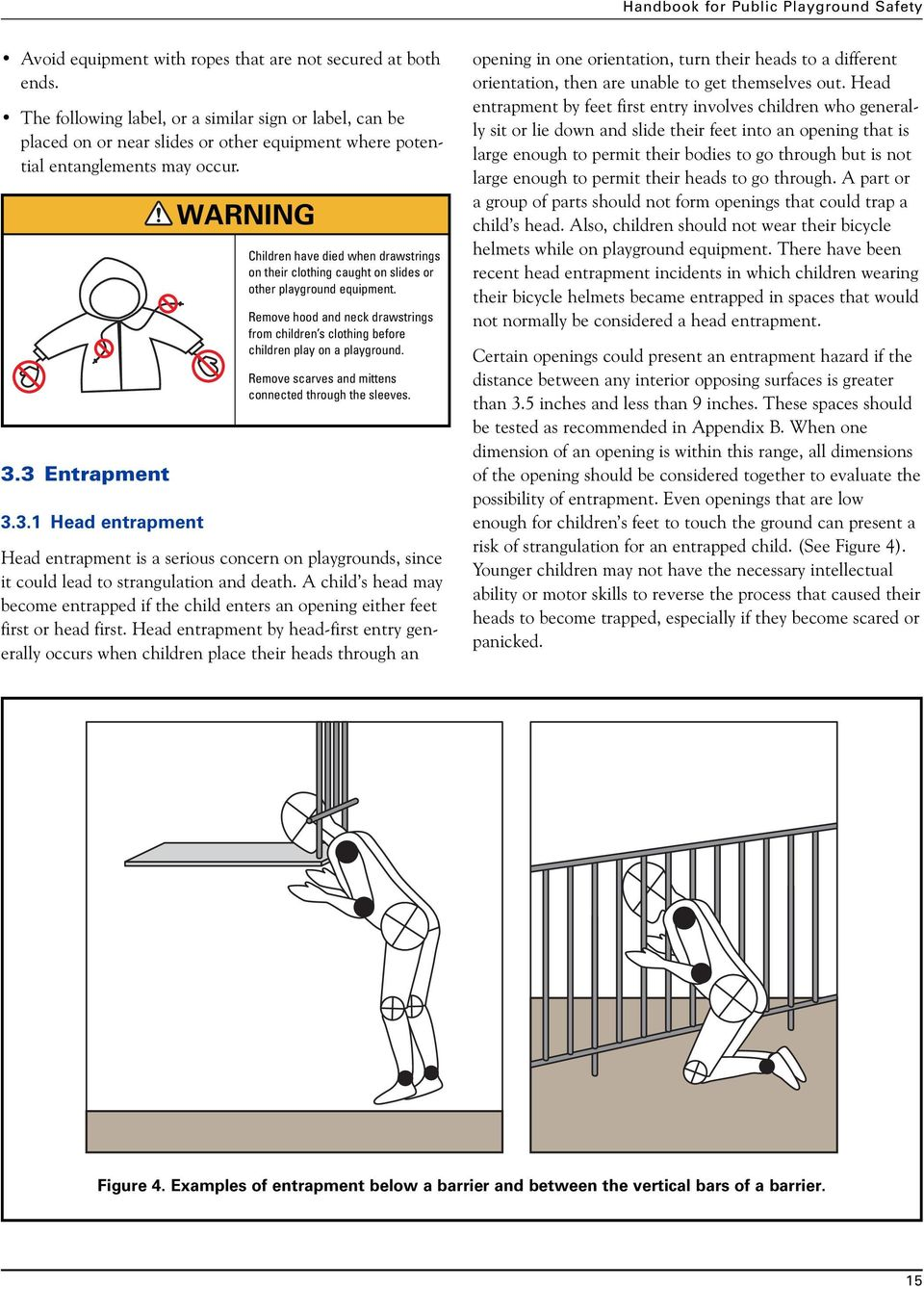 3 Entrapment 3.3.1 Head entrapment WARNING Children have died when drawstrings on their clothing caught on slides or other playground equipment.