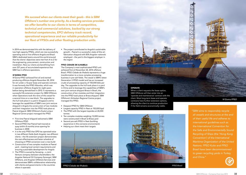 operational experience and our reliable productivity for our fleet of FPSOs and other floating production units.