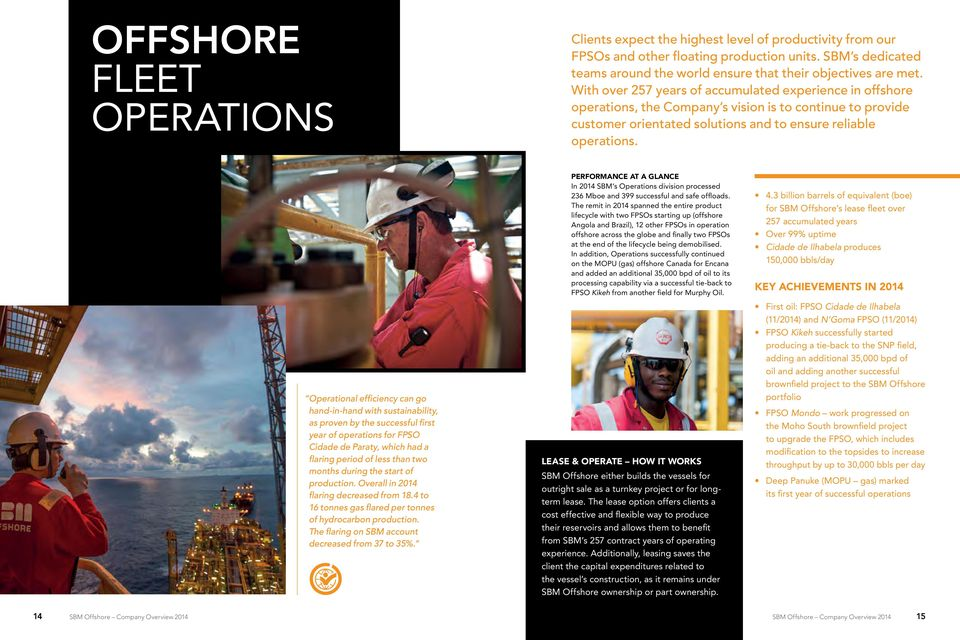 With over 257 years of accumulated experience in offshore operations, the Company s vision is to continue to provide customer orientated solutions and to ensure reliable operations.