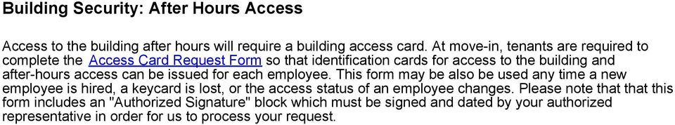 access can be issued for each employee.