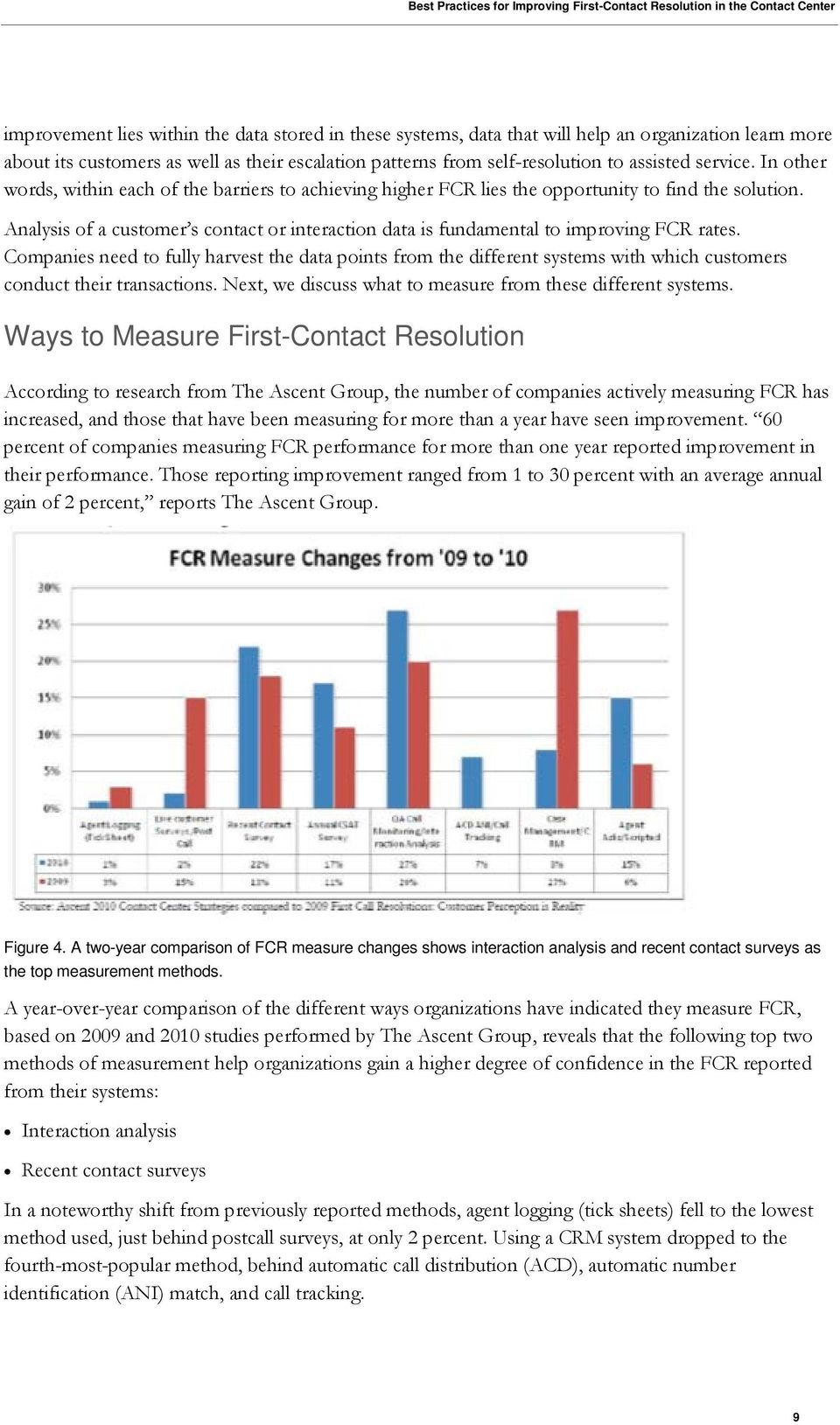 Analysis of a customer s contact or interaction data is fundamental to improving FCR rates.