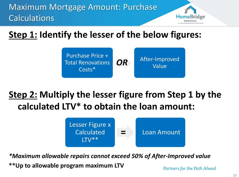 from Step 1 by the calculated LTV* to obtain the loan amount: Lesser Figure x Calculated LTV** = Loan
