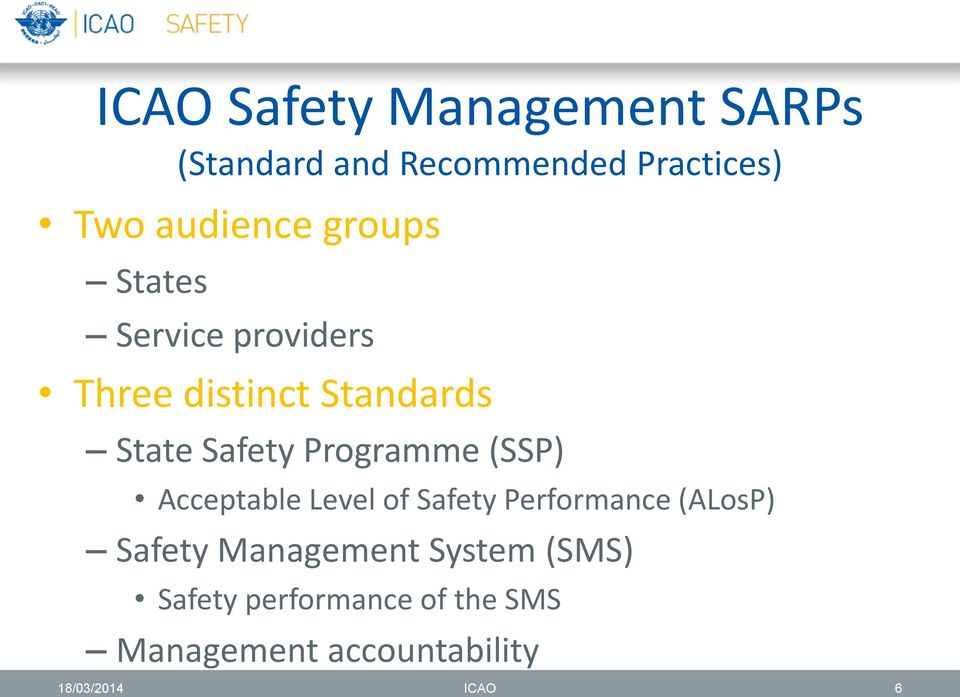 Programme (SSP) Acceptable Level of Safety Performance (ALosP) Safety