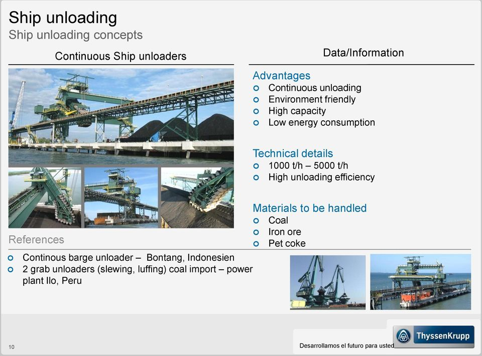 Bontang, Indonesien 2 grab unloaders (slewing, luffing) coal import power plant Ilo, Peru Technical details 1000