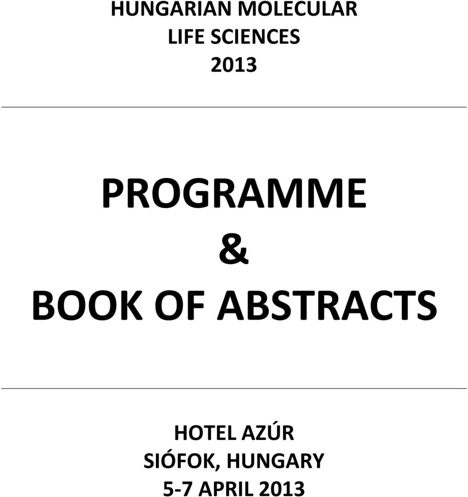 BOOK OF ABSTRACTS HOTEL