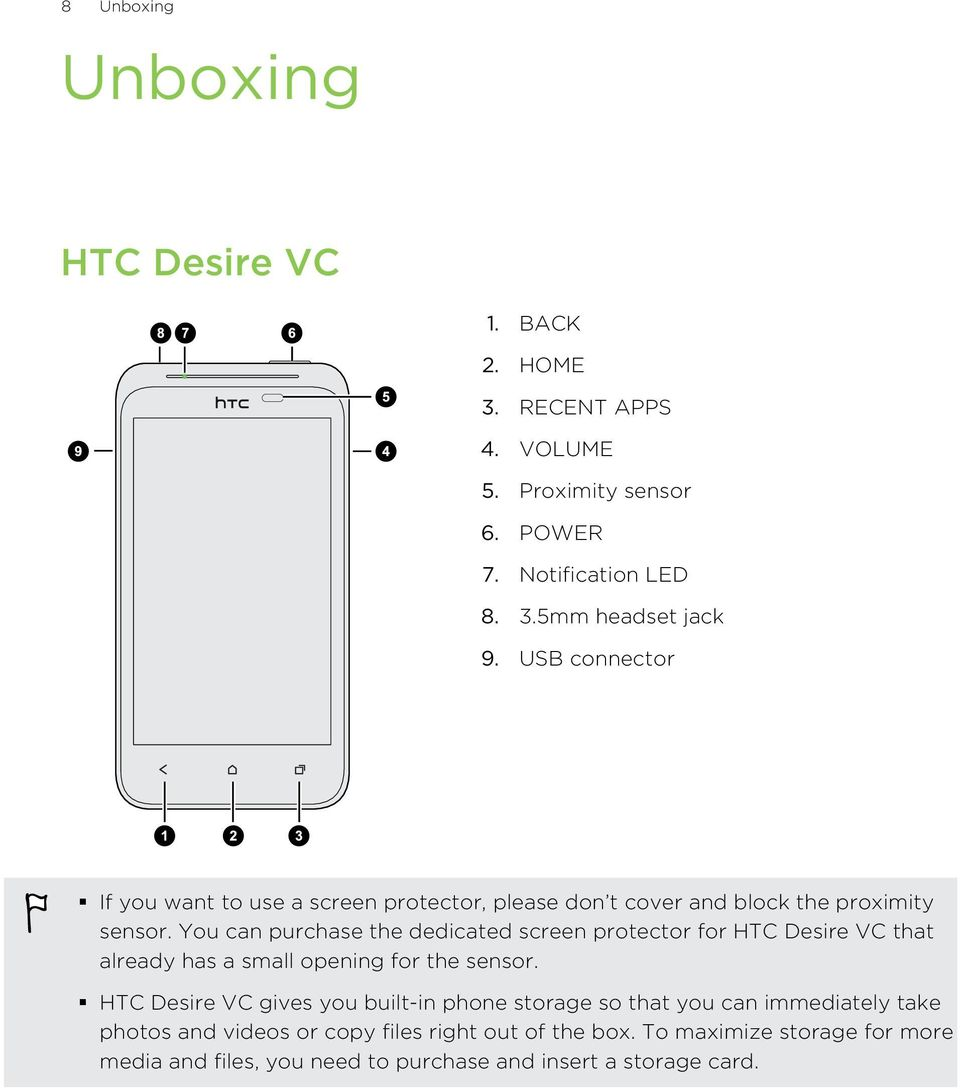 You can purchase the dedicated screen protector for HTC Desire VC that already has a small opening for the sensor.