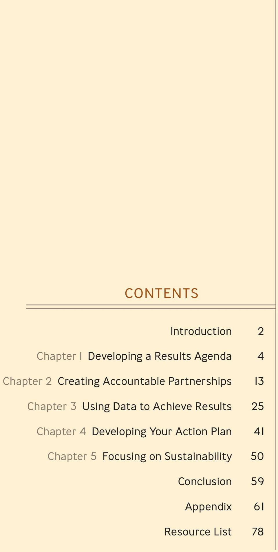 to Achieve Results 25 Chapter 4 Developing Your Action Plan 41