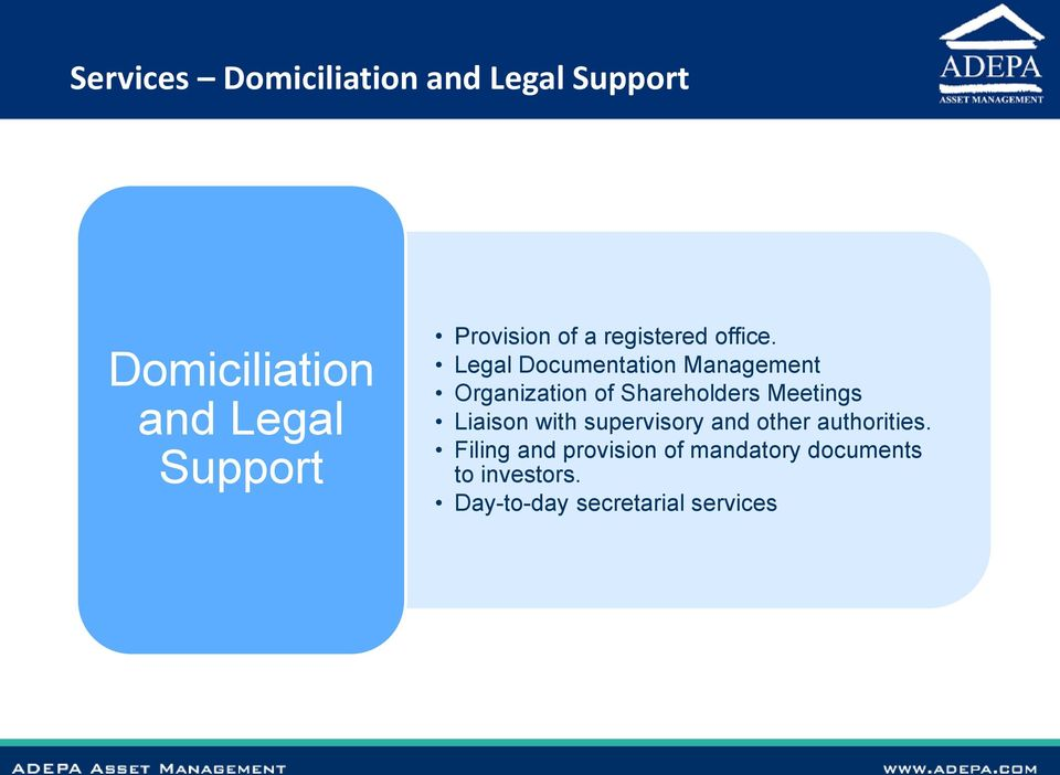 Legal Documentation Management Organization of Shareholders Meetings Liaison