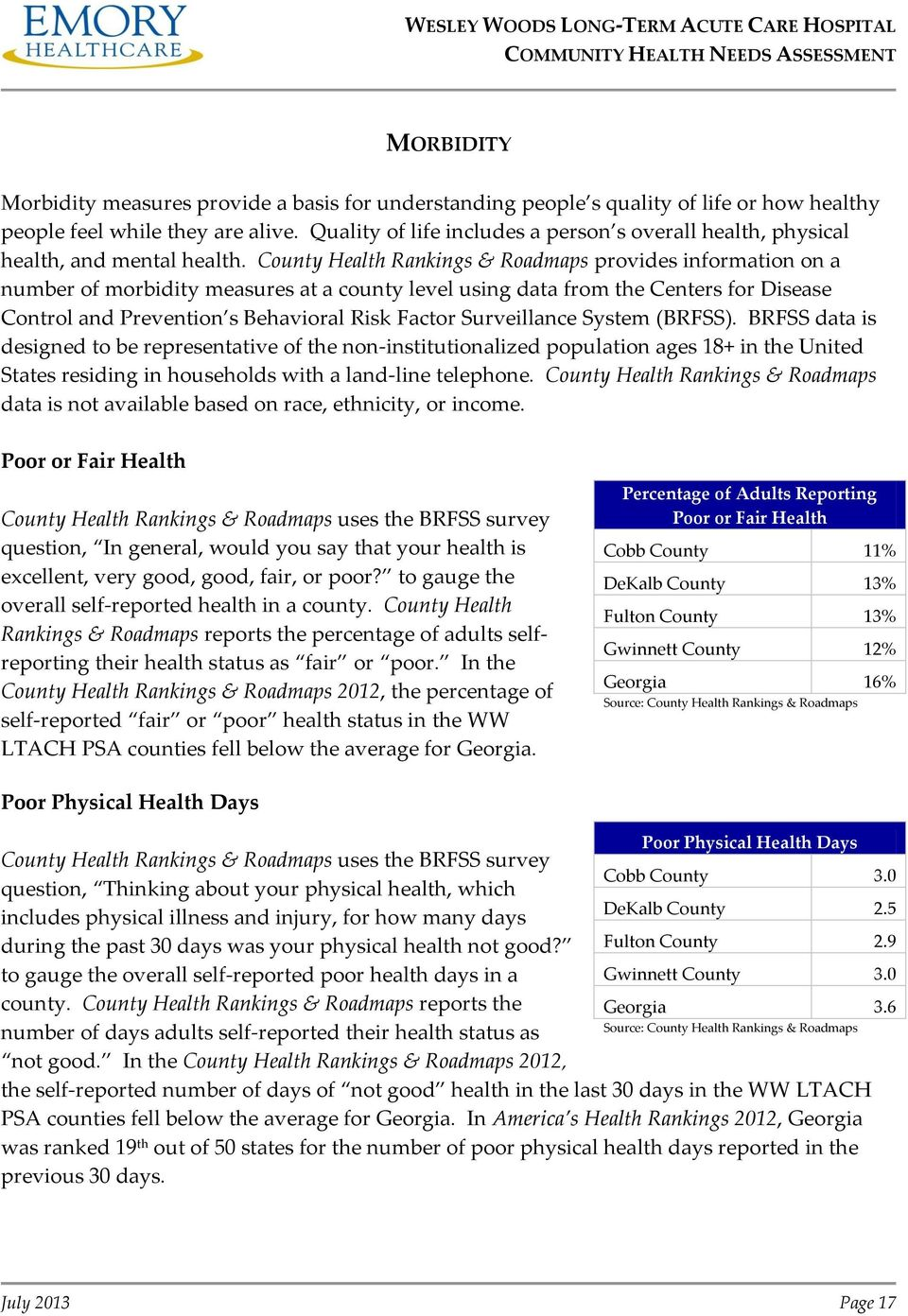 County Health Rankings & Roadmaps provides information on a number of morbidity measures at a county level using data from the Centers for Disease Control and Prevention s Behavioral Risk Factor