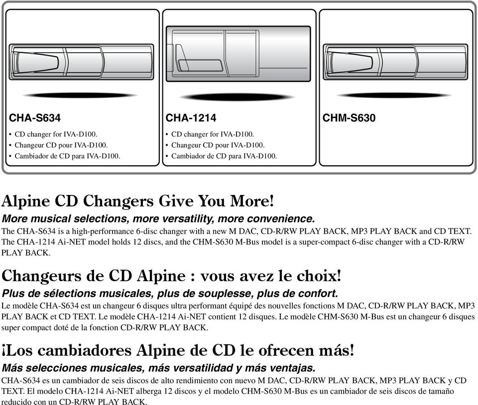 The CHA-1214 Ai-NET model holds 12 discs, and the CHM-S630 M-Bus model is a super-compact 6-disc changer with a CD-R/RW PLAY BACK. Changeurs de CD Alpine : vous avez le choix!