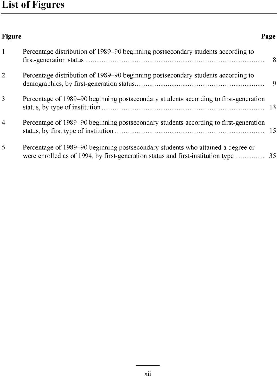 .. 9 3 Percentage of 1989 90 beginning postsecondary students according to first-generation status, by type of institution.