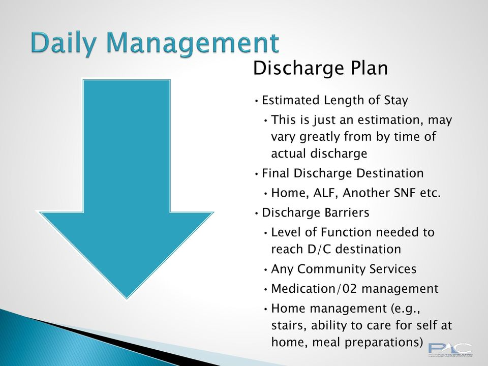 Discharge Barriers Level of Function needed to reach D/C destination Any Community Services