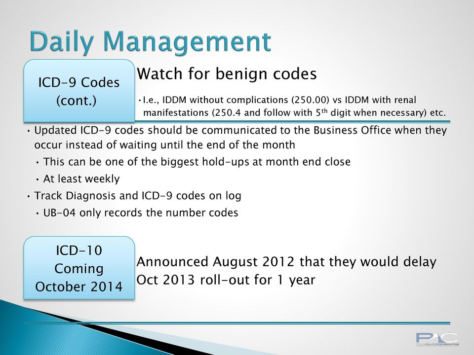 Updated ICD-9 codes should be communicated to the Business Office when they occur instead of waiting until the end of the month This can