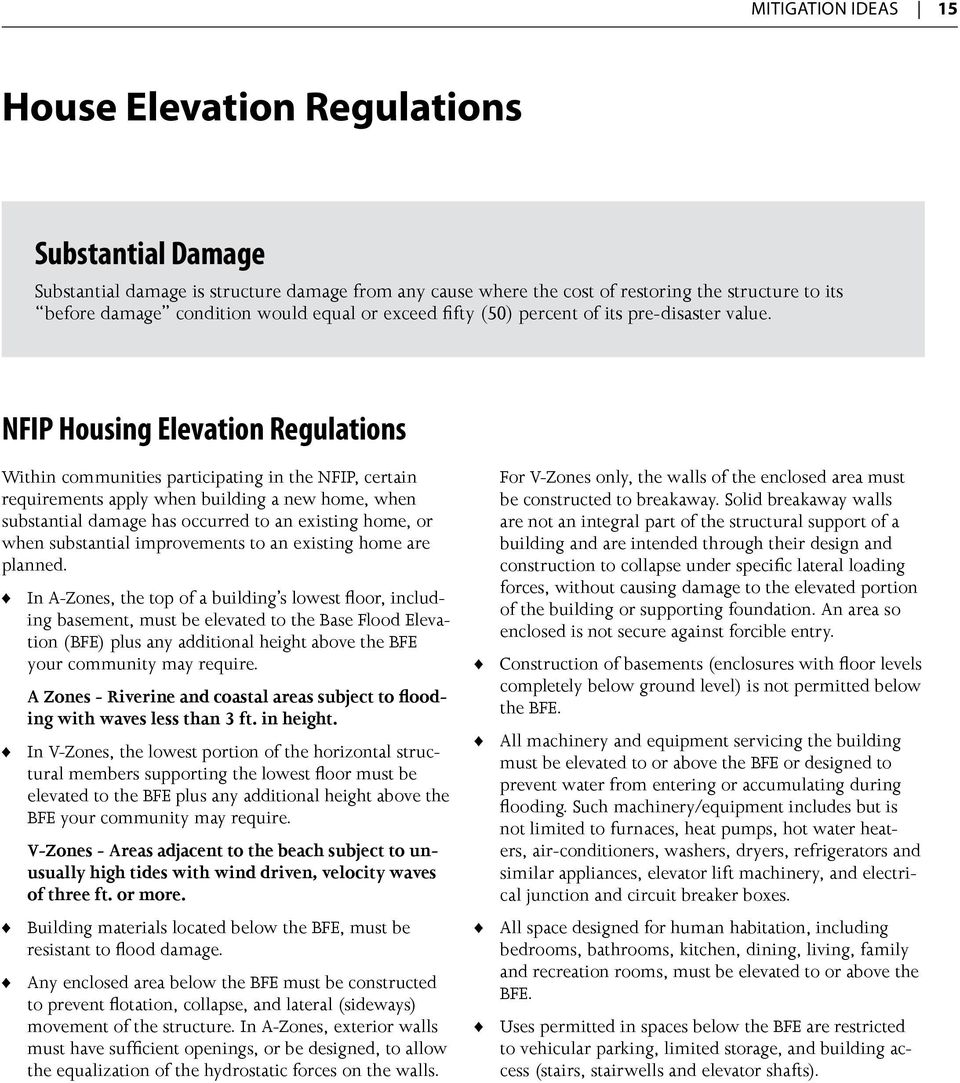 NFIP Housing Elevation Regulations Within communities participating in the NFIP, certain requirements apply when building a new home, when substantial damage has occurred to an existing home, or when