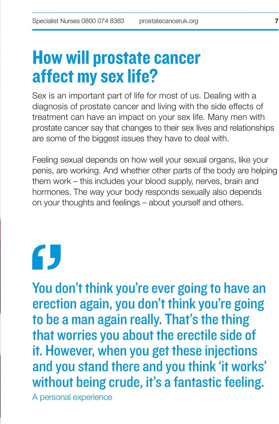 Many men with prostate cancer say that changes to their sex lives and relationships are some of the biggest issues they have to deal with.