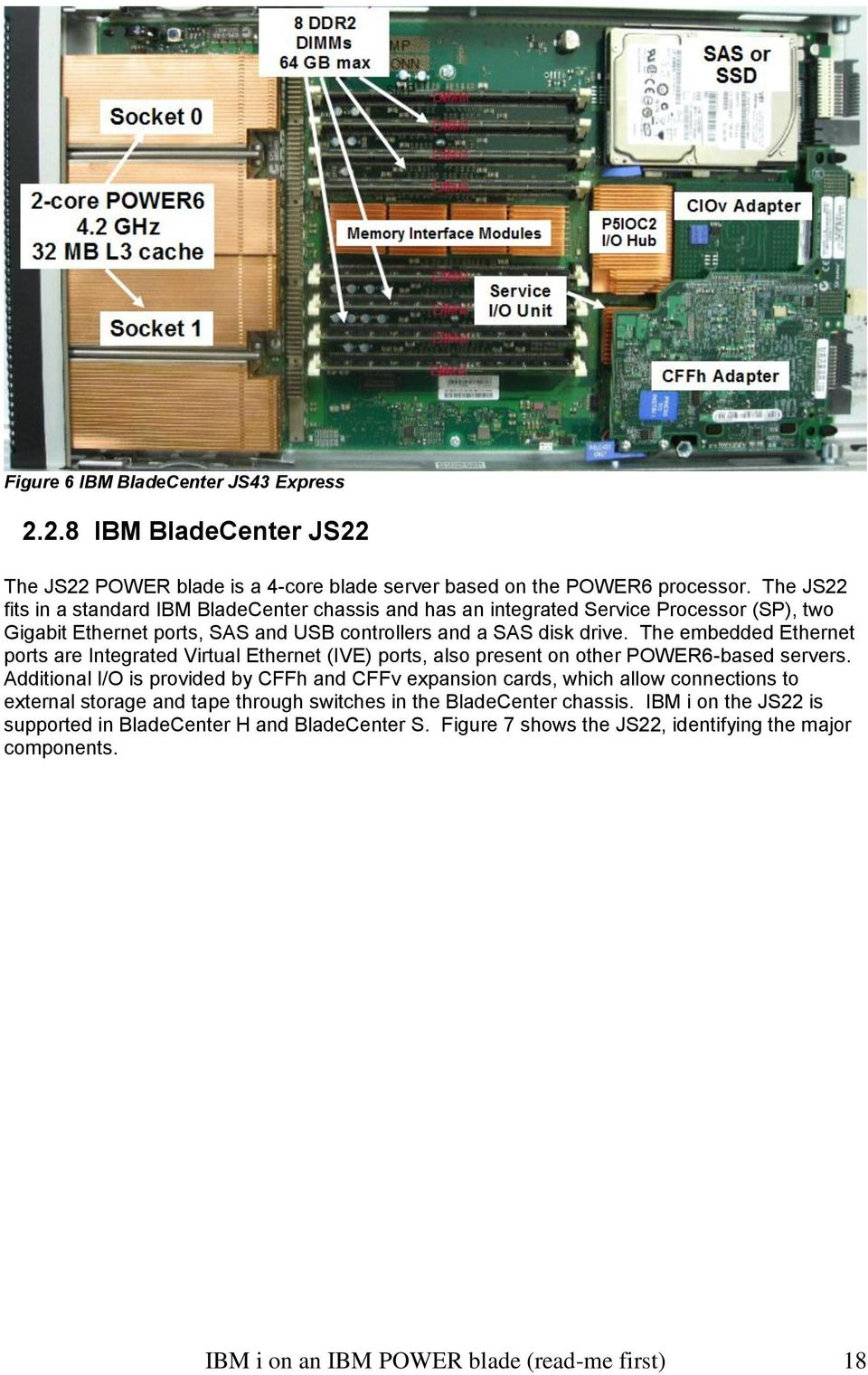 The embedded Ethernet ports are Integrated Virtual Ethernet (IVE) ports, also present on other POWER6-based servers.