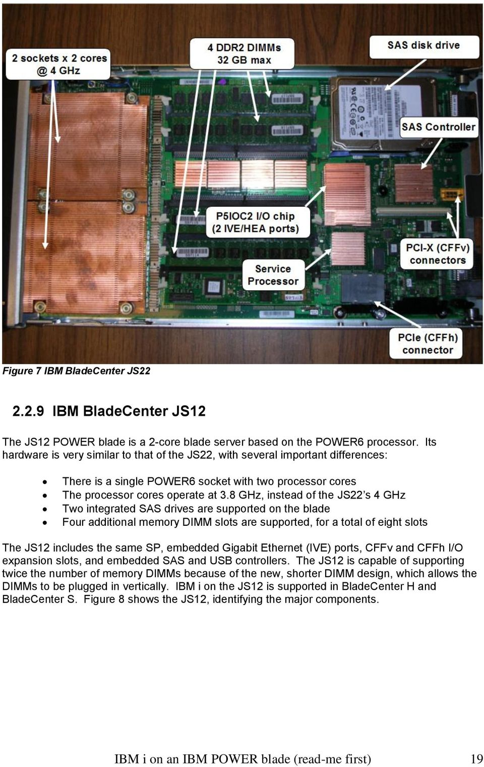 8 GHz, instead of the JS22 s 4 GHz Two integrated SAS drives are supported on the blade Four additional memory DIMM slots are supported, for a total of eight slots The JS12 includes the same SP,