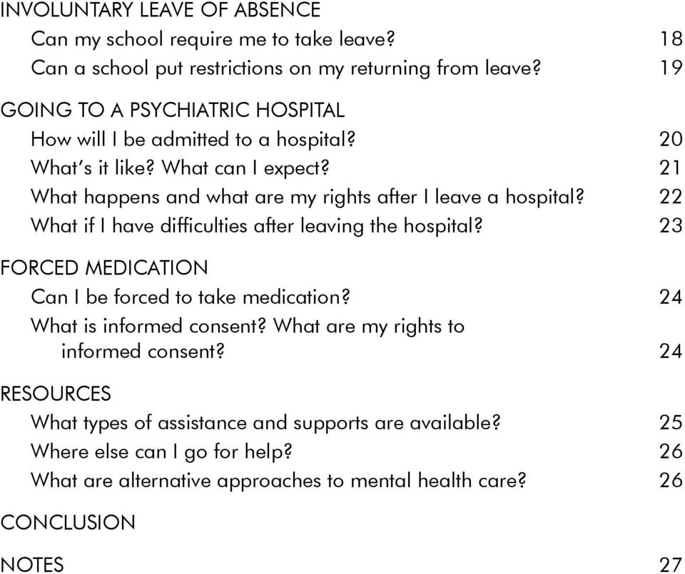21 What happens and what are my rights after I leave a hospital? 22 What if I have difficulties after leaving the hospital?