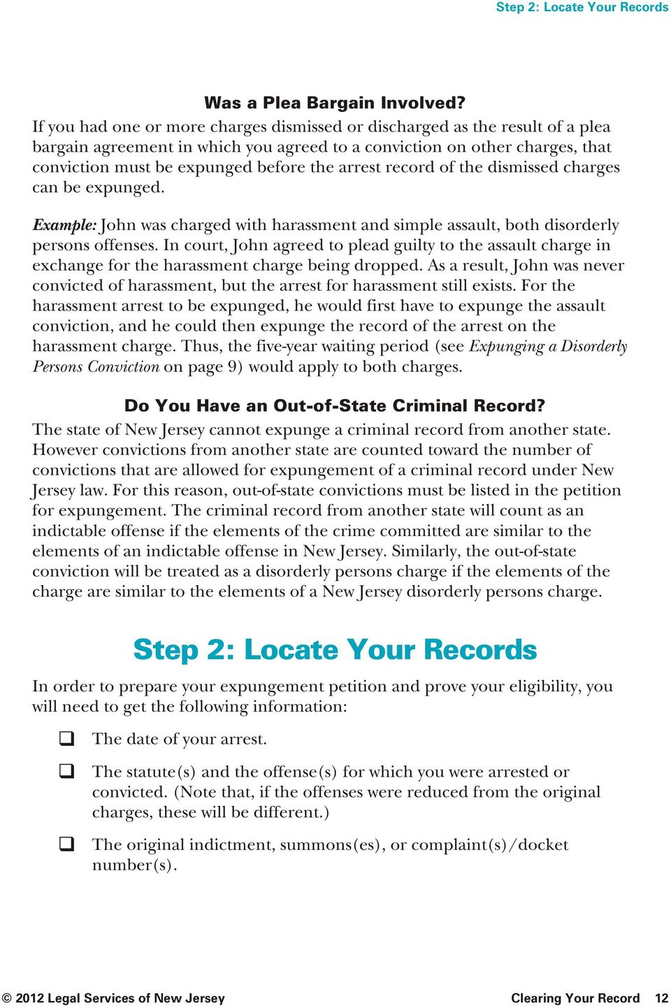 arrest record of the dismissed charges can be expunged. Example: John was charged with harass ment and simple assault, both disor derly persons offenses.