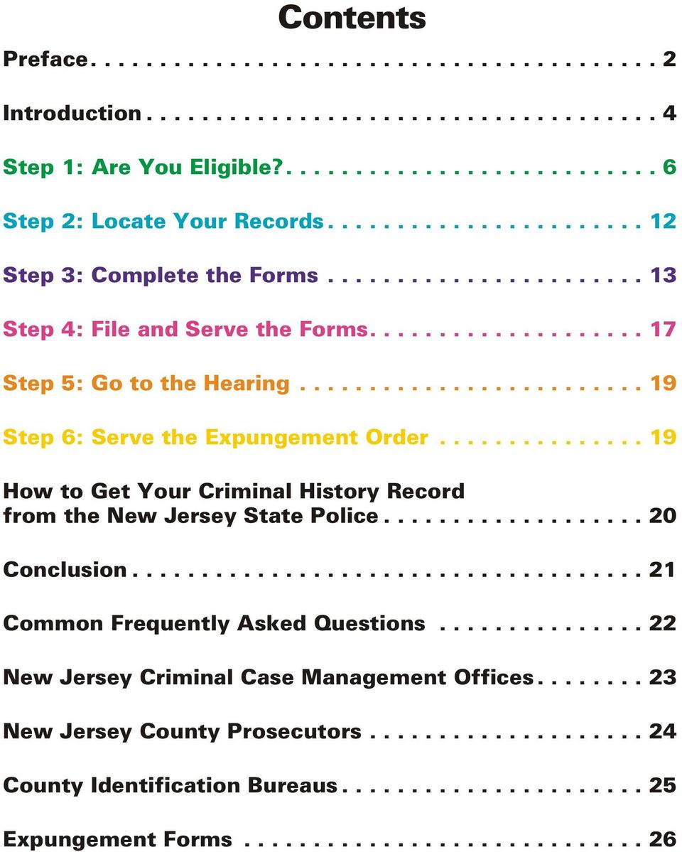 ..19 How to Get Your Criminal History Record from the New Jersey State Police...20 Conclusion.